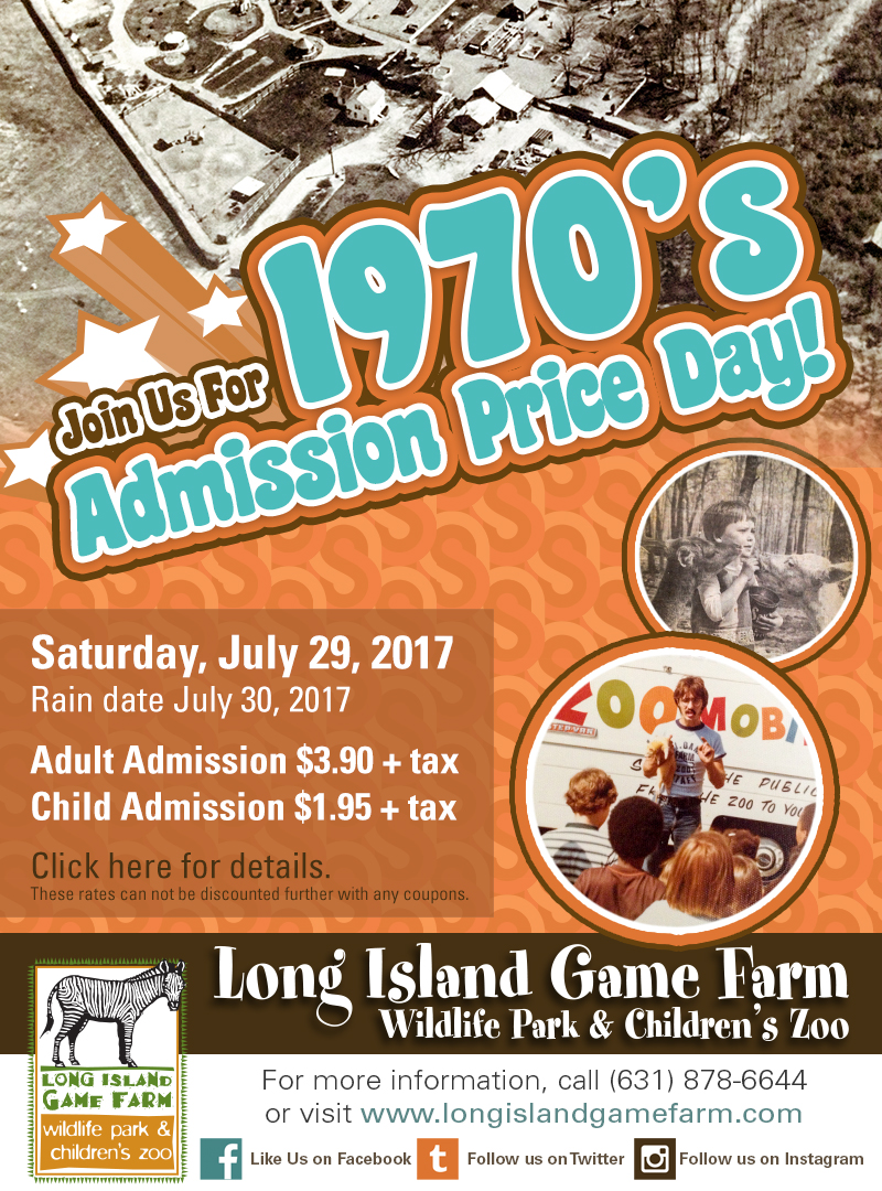 Long Island Game Farm Hosts its Third Annual 1970s Admission Price Day